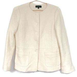 TALBOTS Women's Boiled Wool Cream Blazer size 8